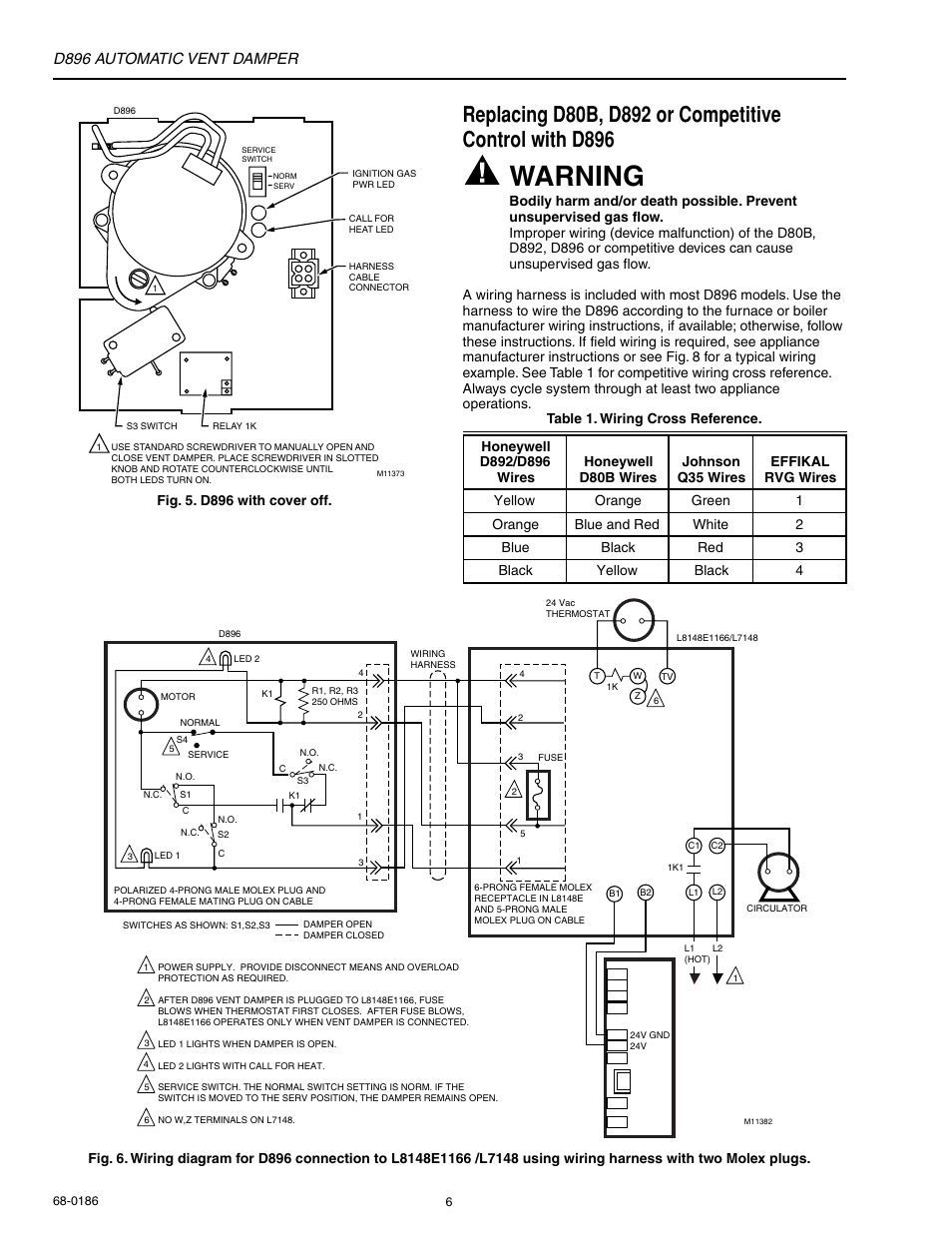 honeywell automatic vent damper d896 page6 warning, d896 automatic vent damper honeywell automatic vent field wiring harness at gsmportal.co