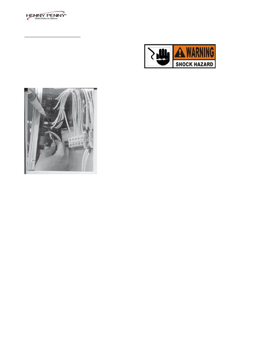 Henny Penny Hcs 2 User Manual Page 16 59 Also For Hcw Turn Off The Power To Circuit At Electrical Panel