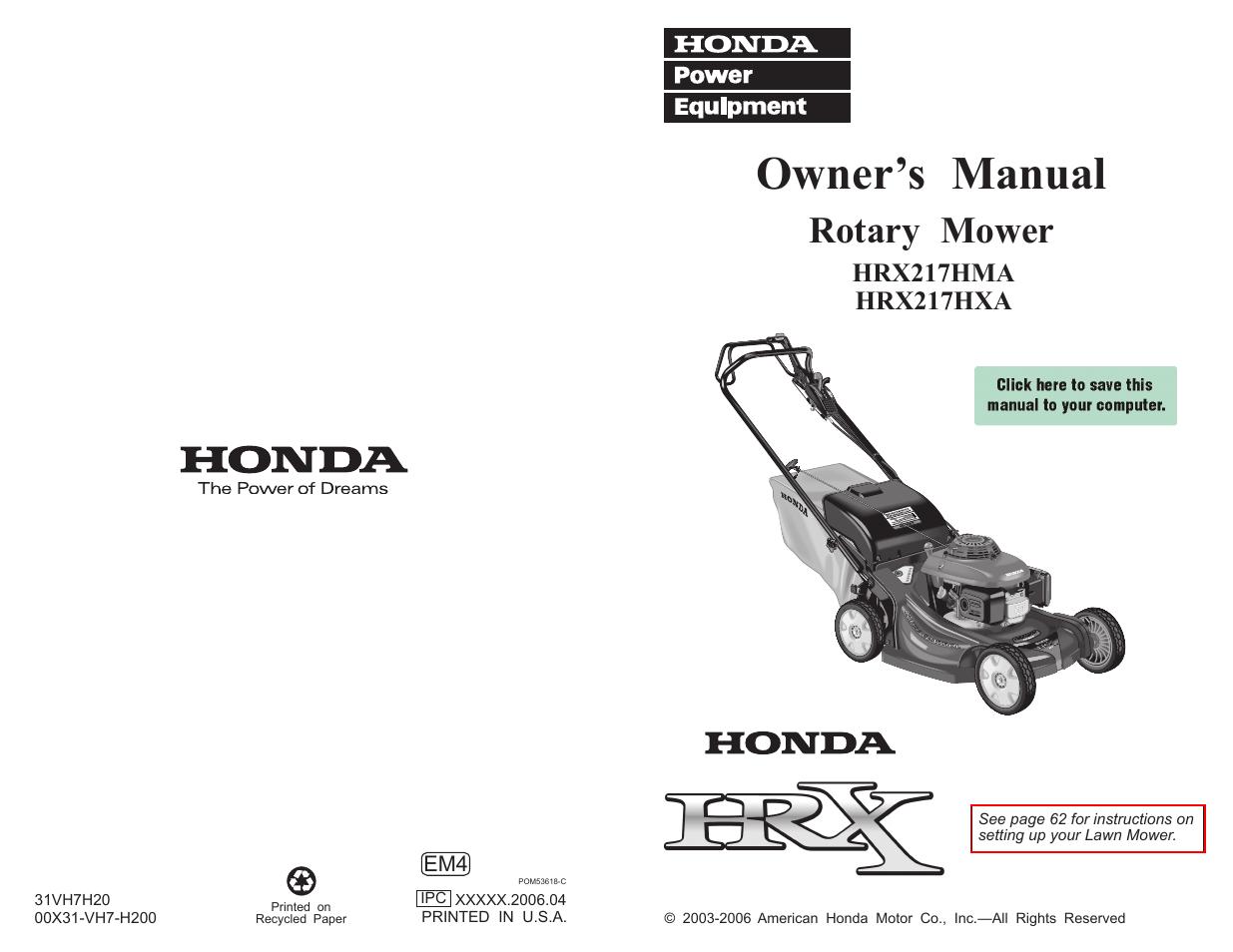 honda hrx217hxa user manual 86 pages also for hrx217hma rh manualsdir com Honda Push Mowers Self-Propelled Honda Push Mowers Self-Propelled