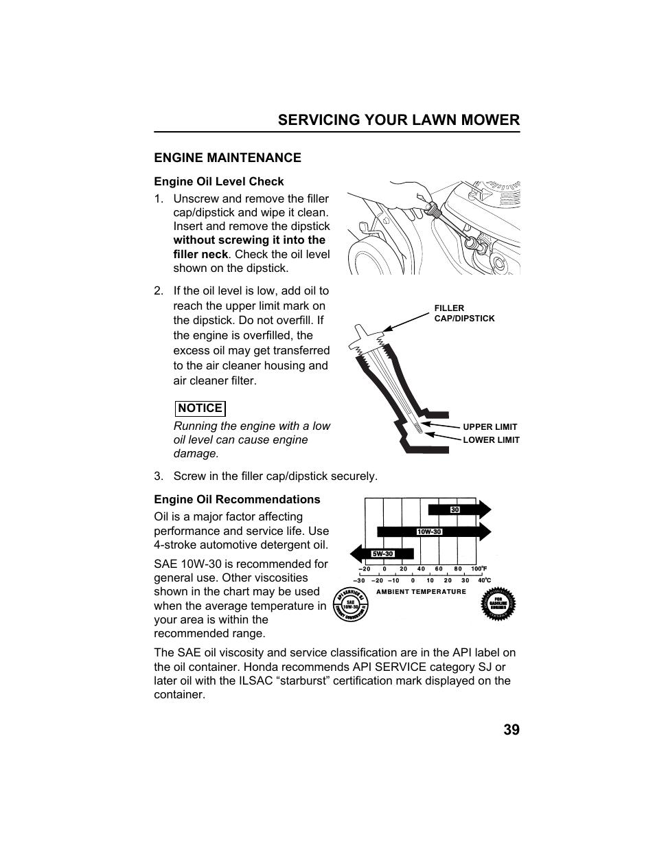 Engine maintenance, Engine oil level check, Engine oil