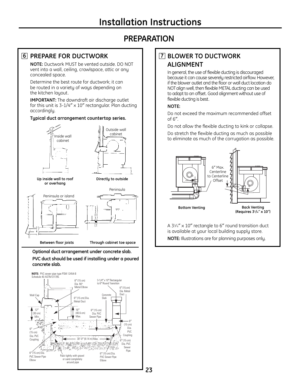 Installation instructions, Preparation, Prepare for ductwork