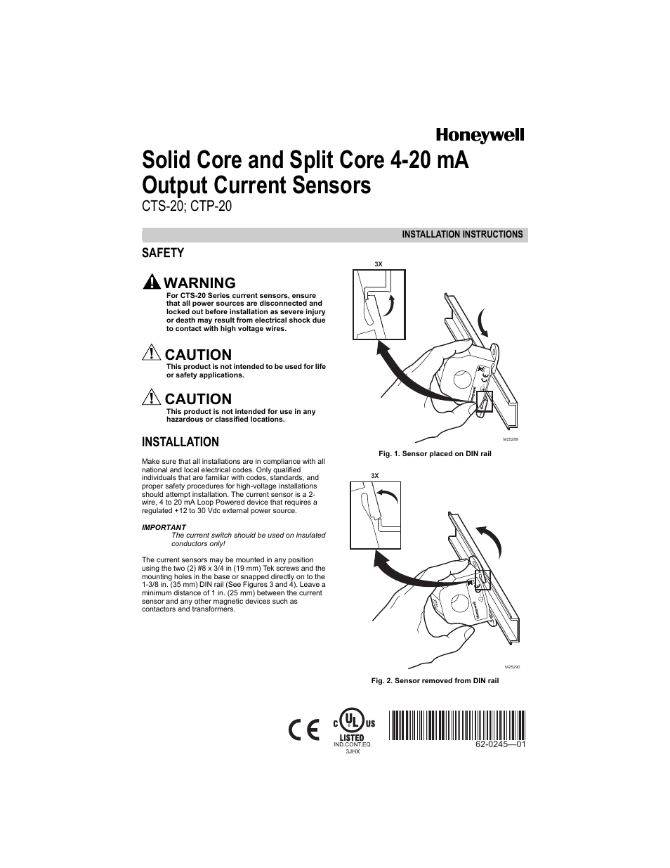 Honeywell CTP-20 User Manual | 4 pages | Also for: CTS-20 on