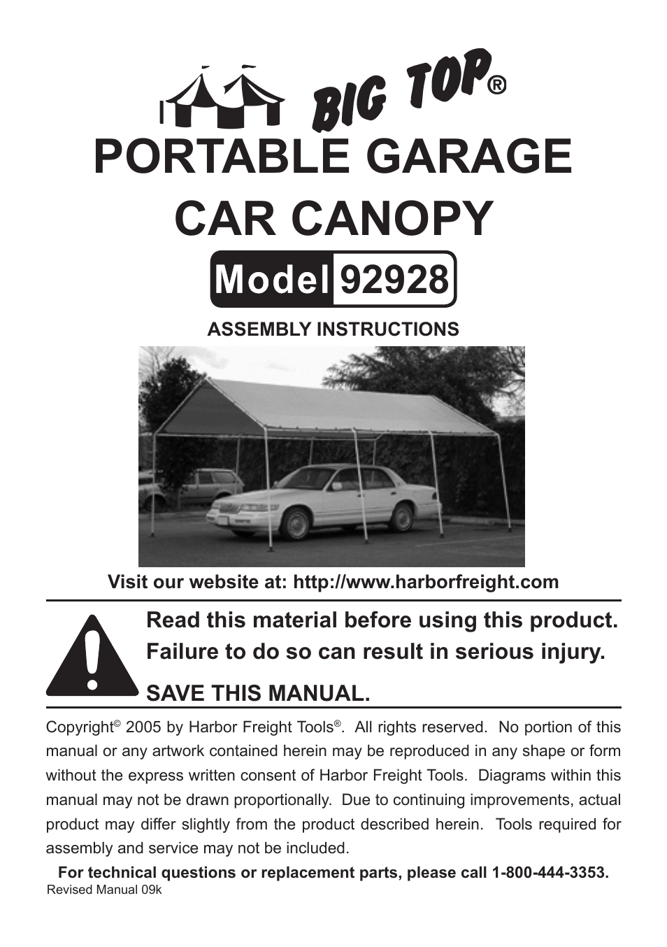 Harbor Freight Tools BIG TOP 92928 User Manual | 5 pages