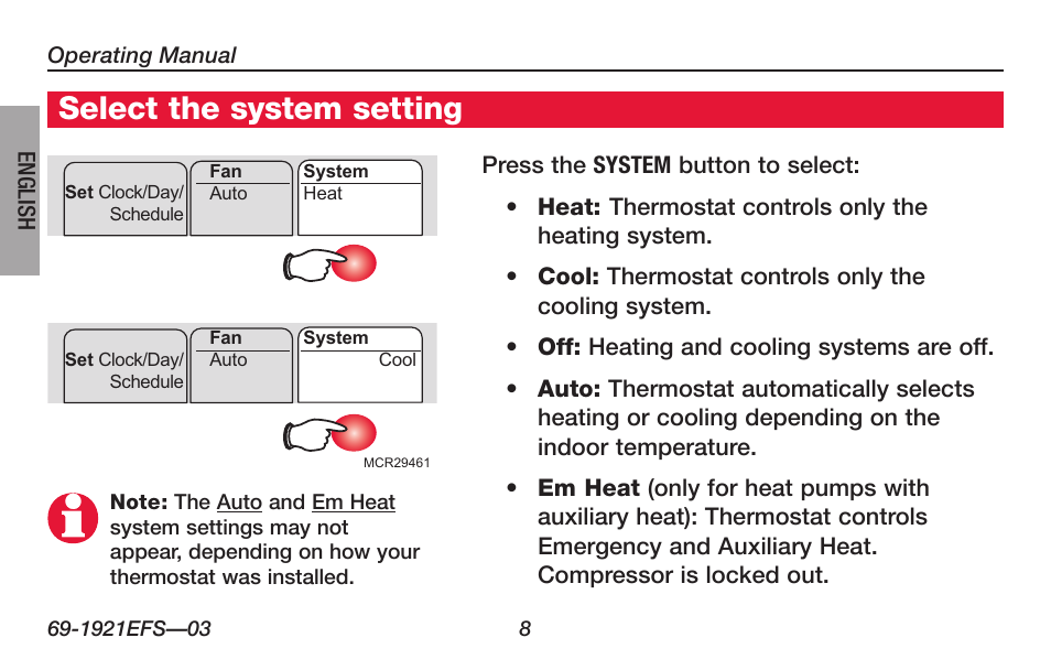 About your new thermostat select the system setting honeywell about your new thermostat select the system setting honeywell focuspro th6000 series user manual page 10 80 sciox Images