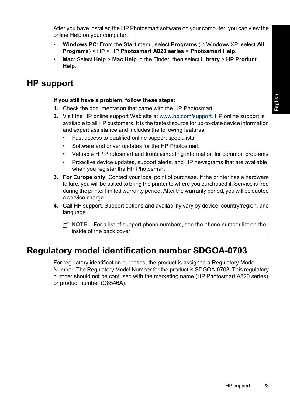 Hp support, Regulatory model identification number sdgoa