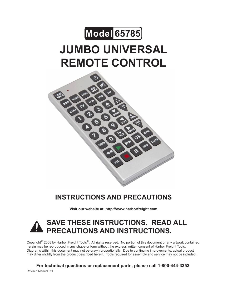 harbor freight tools jumbo universal remote control 65785 user rh manualsdir com quantum fx jumbo universal remote control codes emerson jumbo universal remote control codes