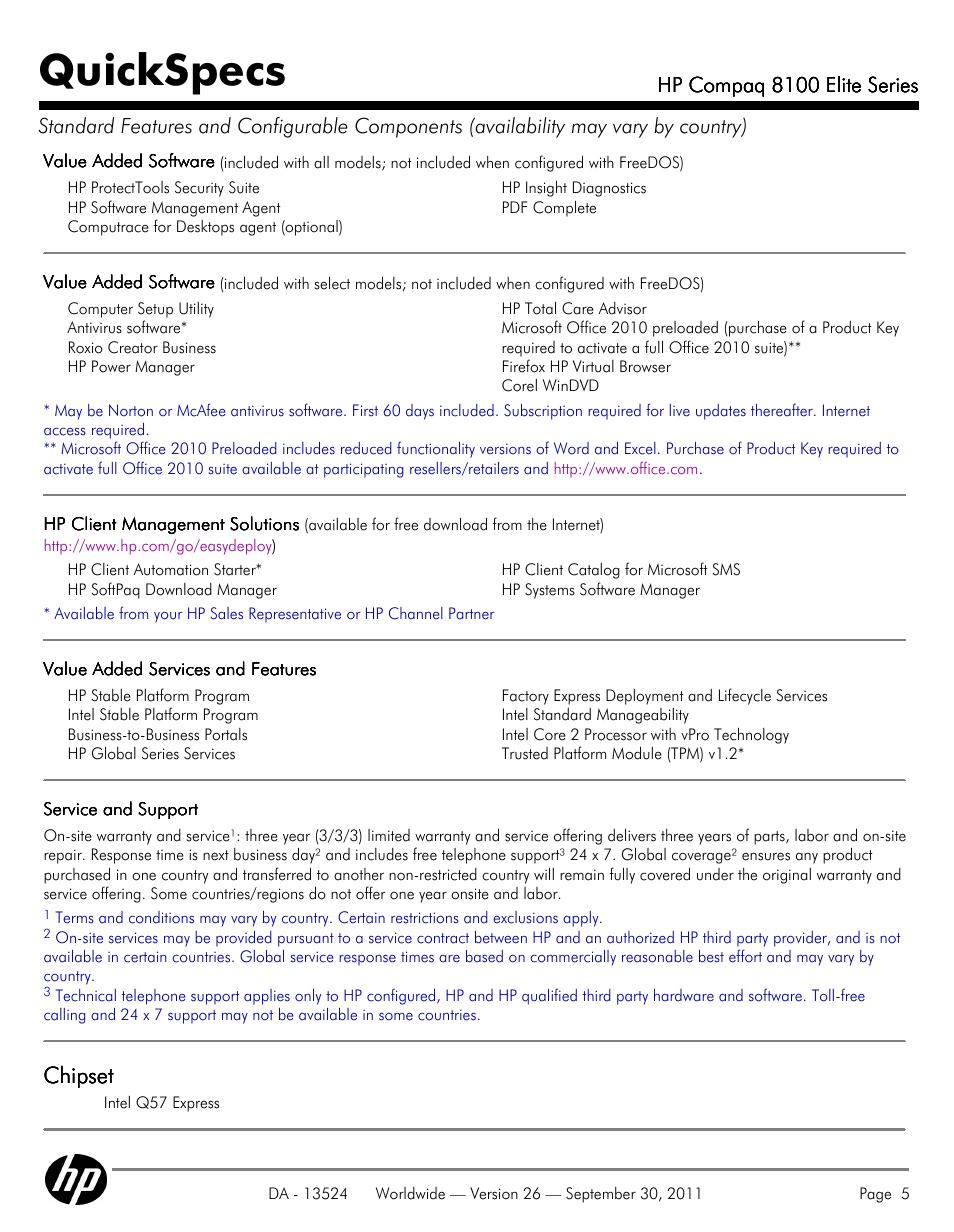 Quickspecs, Chipset | HP COMPAQ 8100 User Manual | Page 5 / 65