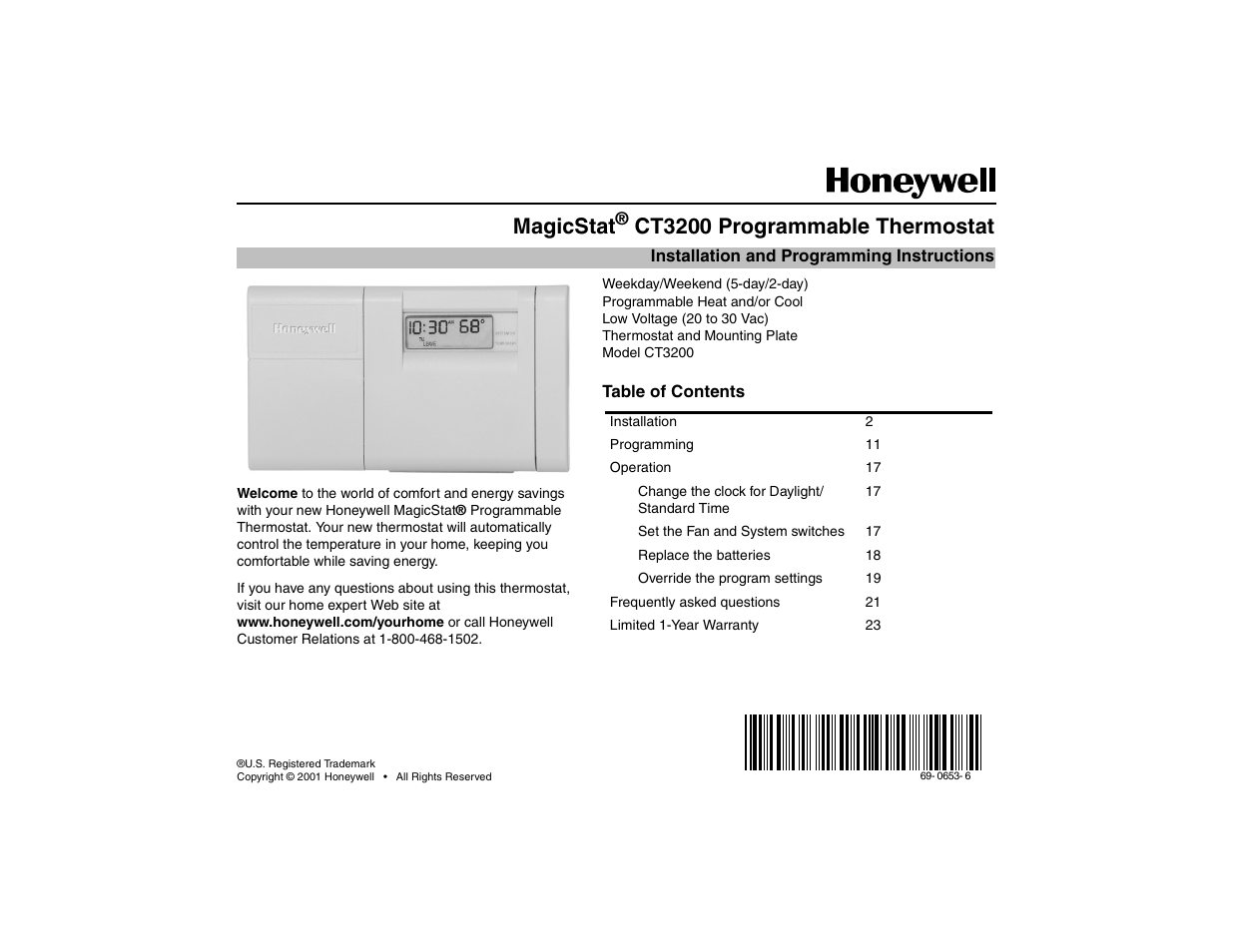 Honeywell Magicstat Ct3200 User Manual 24 Pages Room Thermostat Wiring Diagram