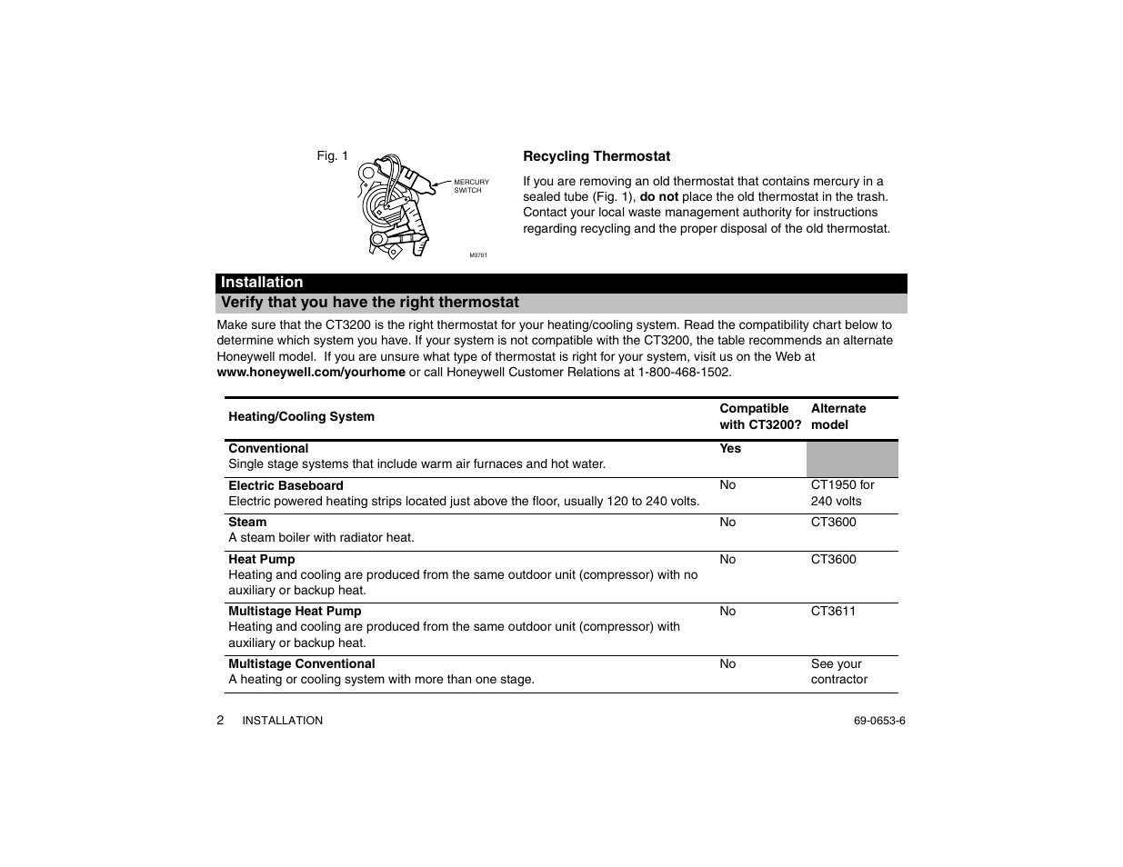 Multi stage heating and cooling - Verify That You Have The Right Thermostat Recycling Thermostat Honeywell Magicstat Ct3200 User Manual Page 2 24