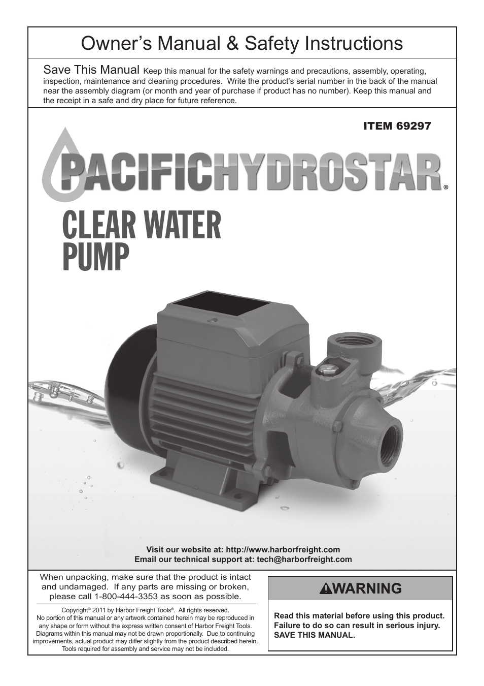 Pacific Hydrostar Water Pump Wiring Diagrams Books Of Diagram Home Pumps Fuse Box Harbor Freight Tools Clear 69297 User Manual 8 Pages Rh Manualsdir Com