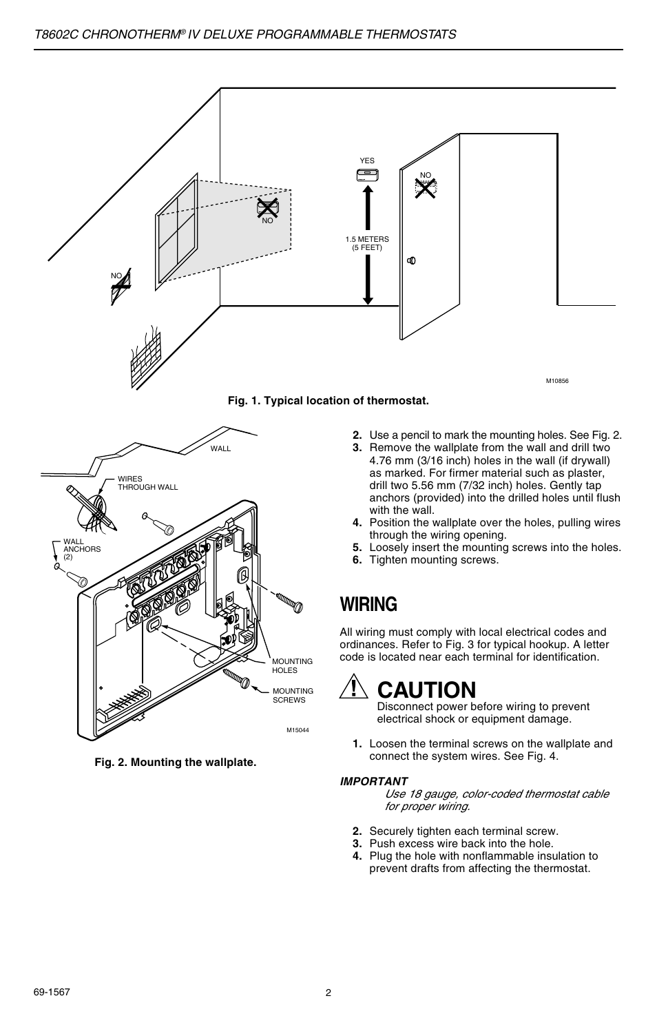 Caution Wiring T8602c Chronotherm Honeywell Iv Thermostat Iii Diagram User Manual Page 2 12