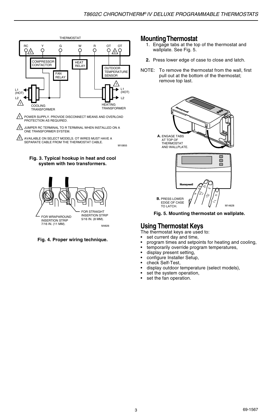Using Thermostat Keys Mounting T8602c Chronotherm Heat And Cool 2 Transformers Honeywell Iv User Manual Page 3 12