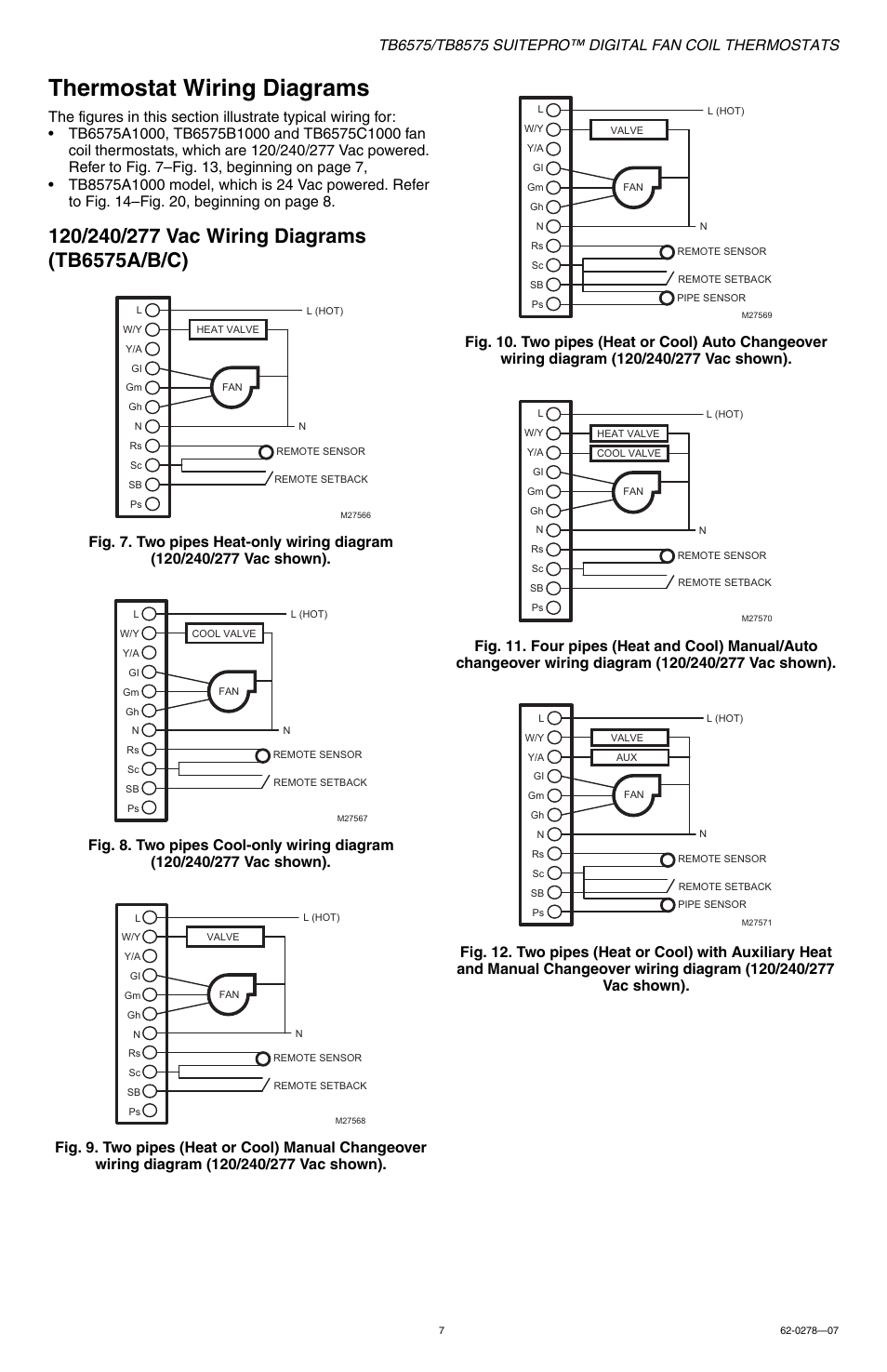Thermostat Wiring Diagrams Honeywell Suitepro Tb8575 User Manual Changeover Diagram Page 7 20
