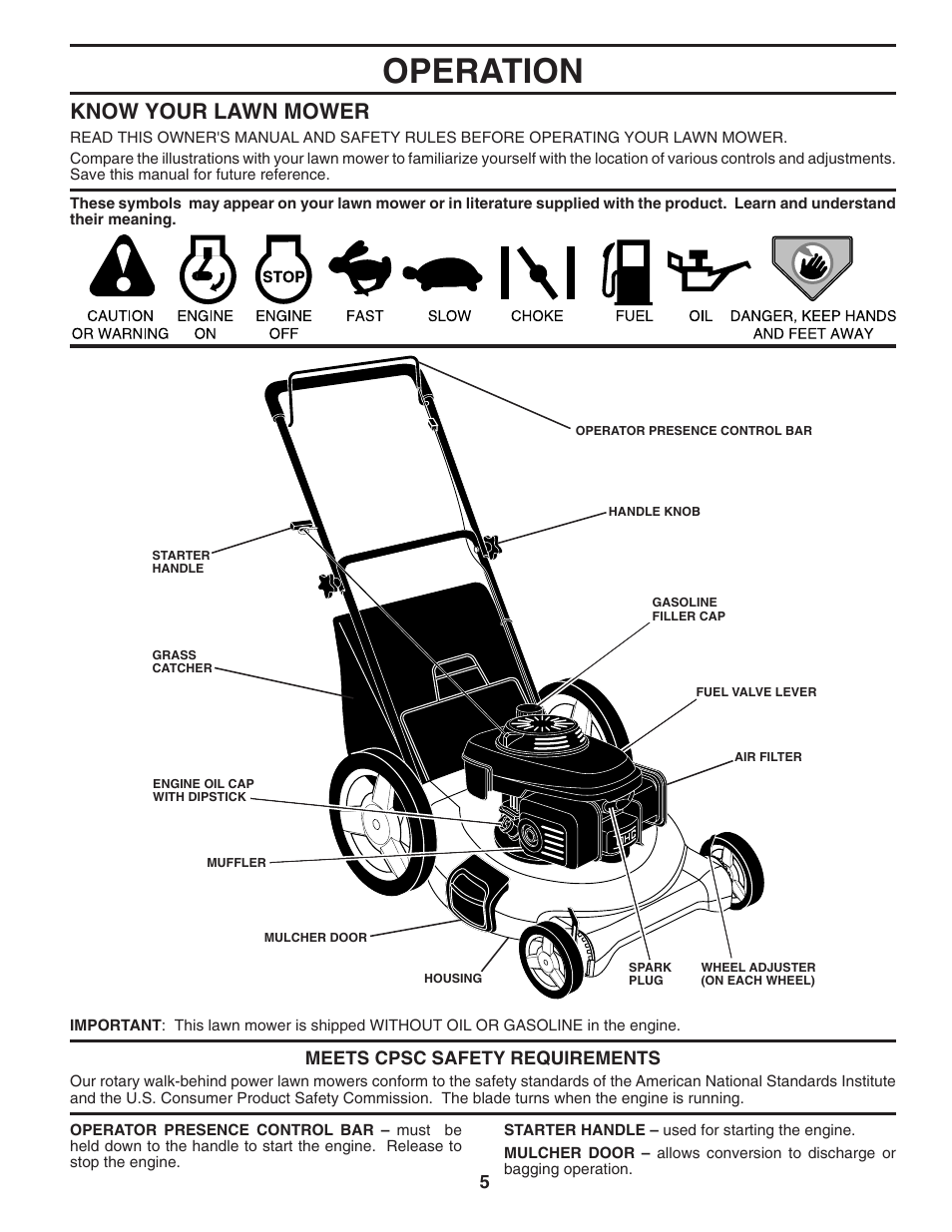 Operation Know Your Lawn Mower Husqvarna 7021p User