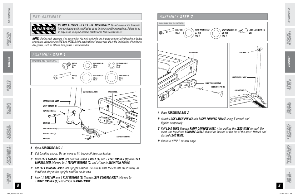 Pre-assembly assembly step 1, Assembly step 2, Warning | Horizon Fitness TREADMILL USER'S GUIDE T401 User Manual | Page 5 / 17