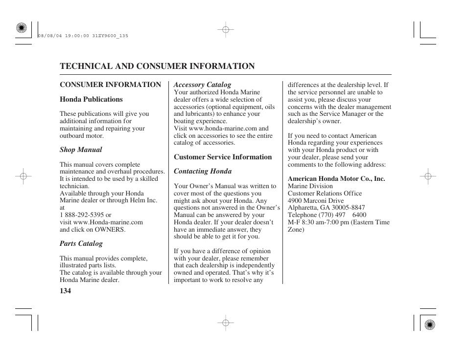 Consumer Information Honda Publications Customer Service