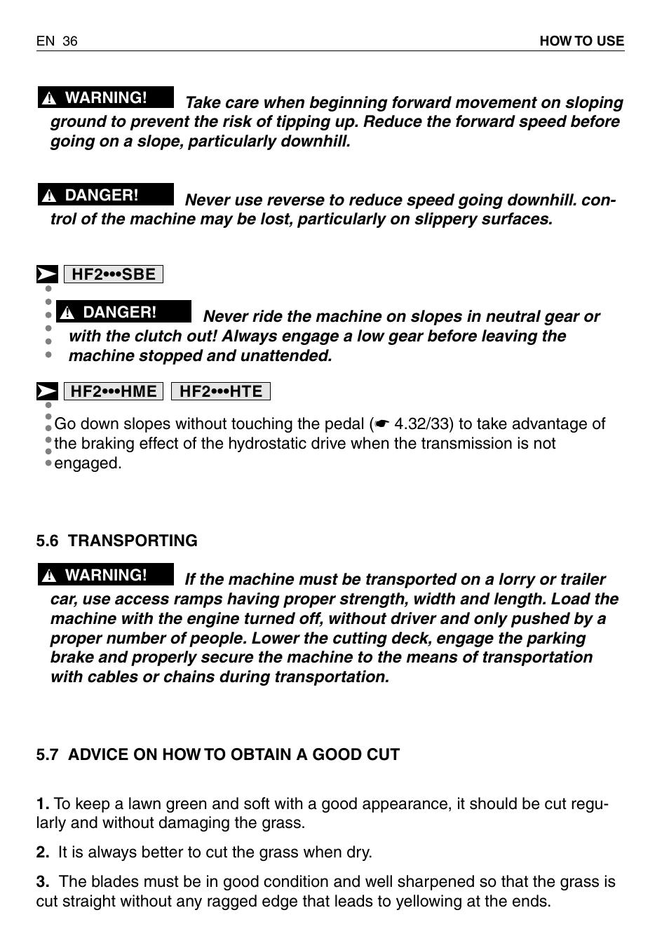HONDA HF2315SBE User Manual | Page 37 / 65
