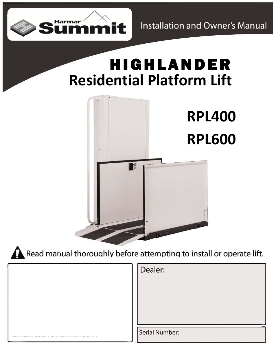 Harmar Mobility LIFTS RPL400 User Manual | 22 pages | Also ... on