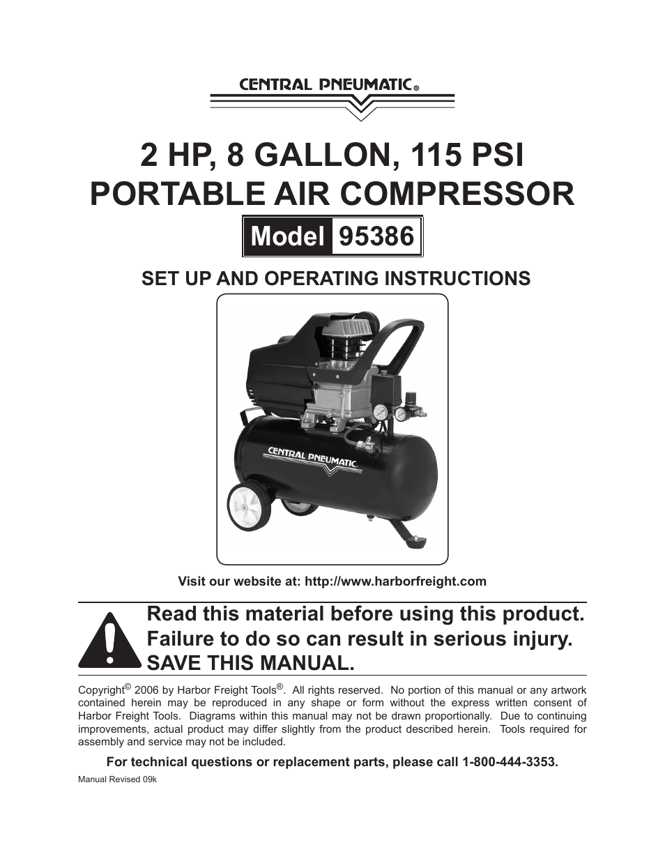 central pneumatic air compressor manual