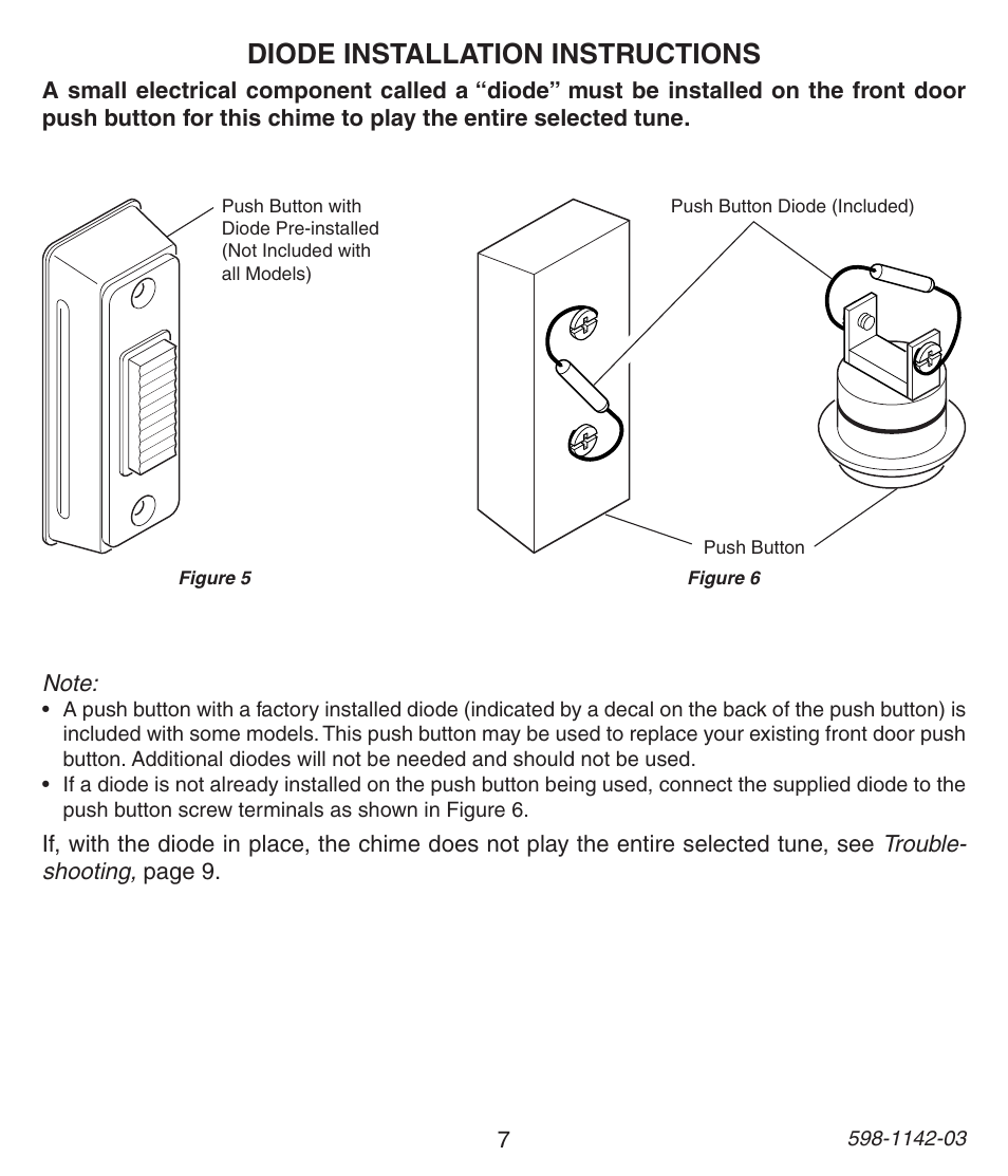 Diode installation instructions | Heath Zenith 125C User Manual | Page 7 /  36