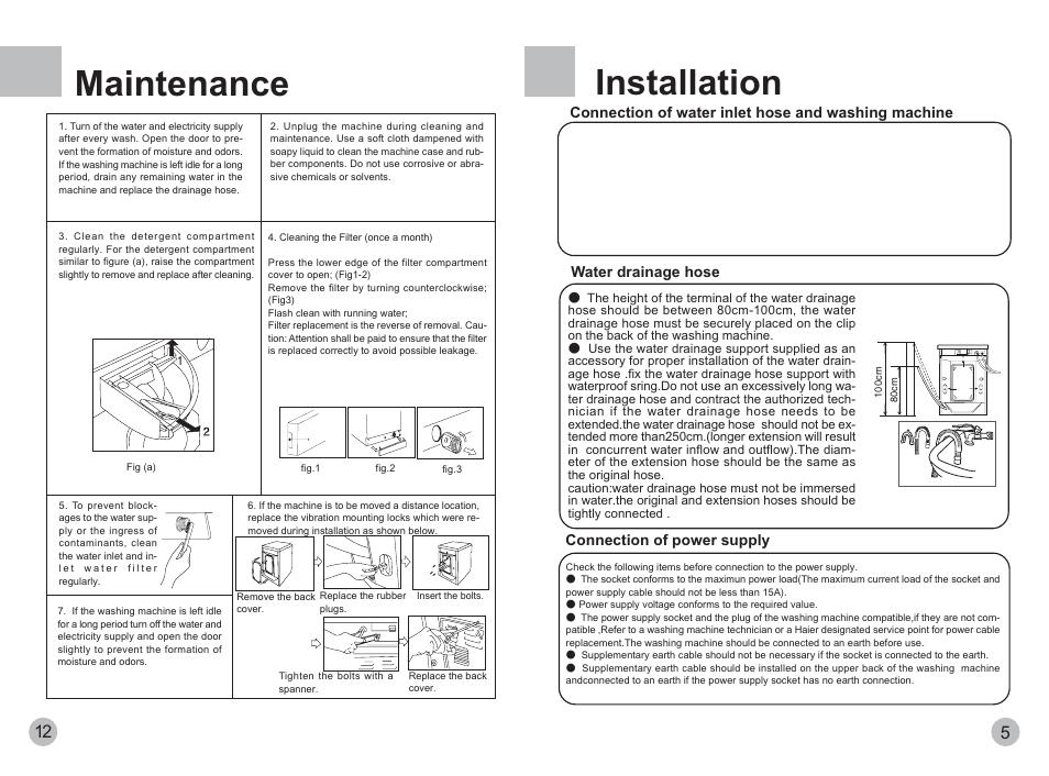 installation maintenance haier xqg50 600txb user manual page 7 rh manualsdir com Maintenance Manual Template Maintenance Person