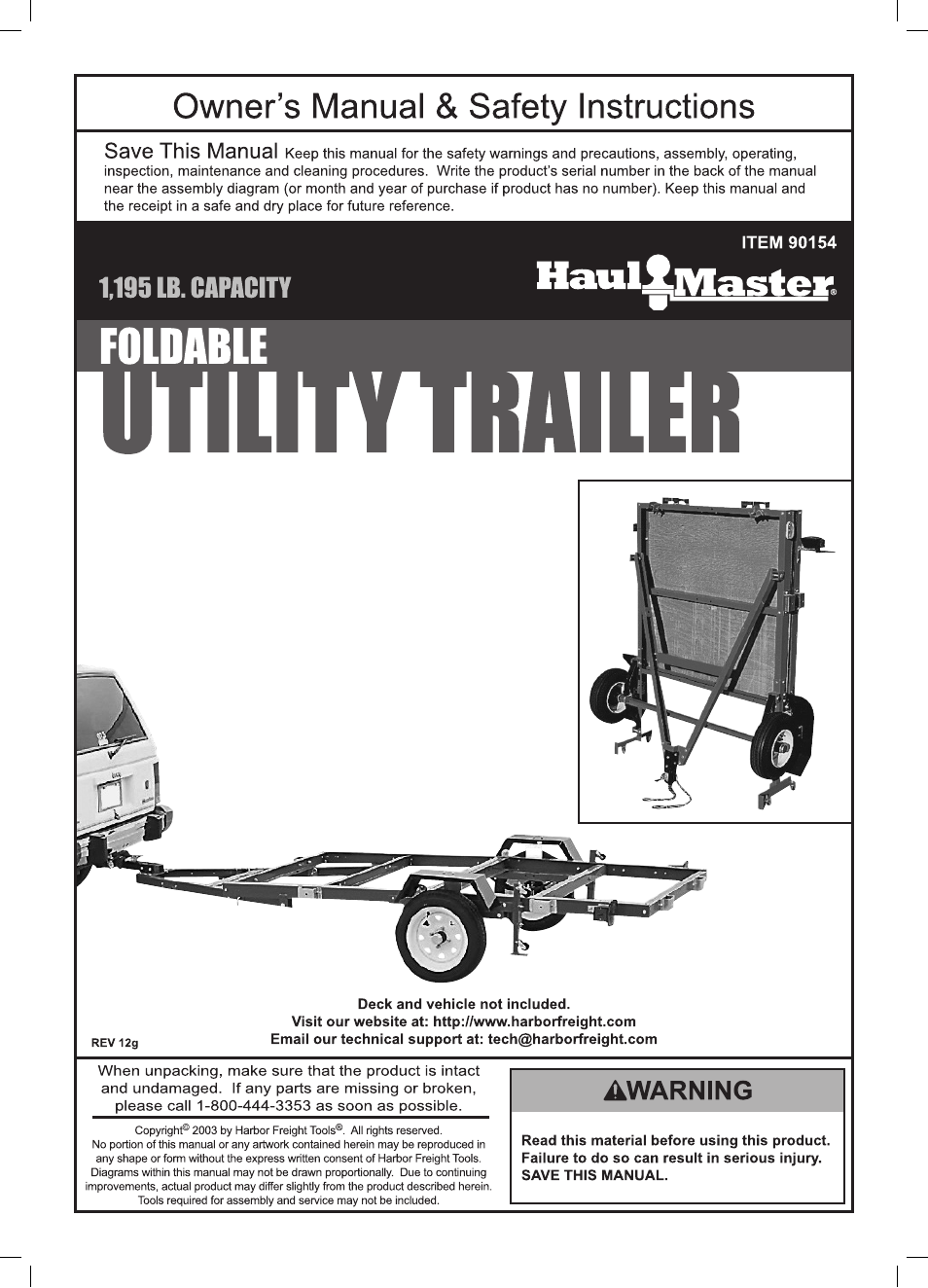Harbor Freight Tools Foldable Utility Trailer 90154 User Manual | 28 pages
