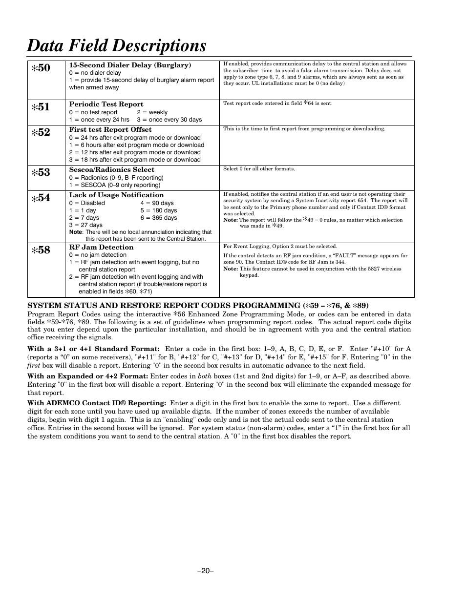 Data field descriptions | Honeywell ADEMCO LYNXR-EN User Manual | Page 20 /  72