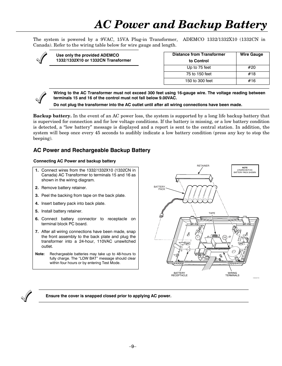 Ac Power And Backup Battery Rechargeable Transformer Wiring Honeywell Ademco Lynxr En User Manual Page 9 72