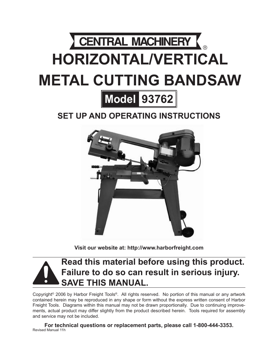 harbor freight tools metal cutting bandsaw 93762 user manual 29 pages rh manualsdir com harbor freight band saw manual 60500 harbor freight portable bandsaw parts