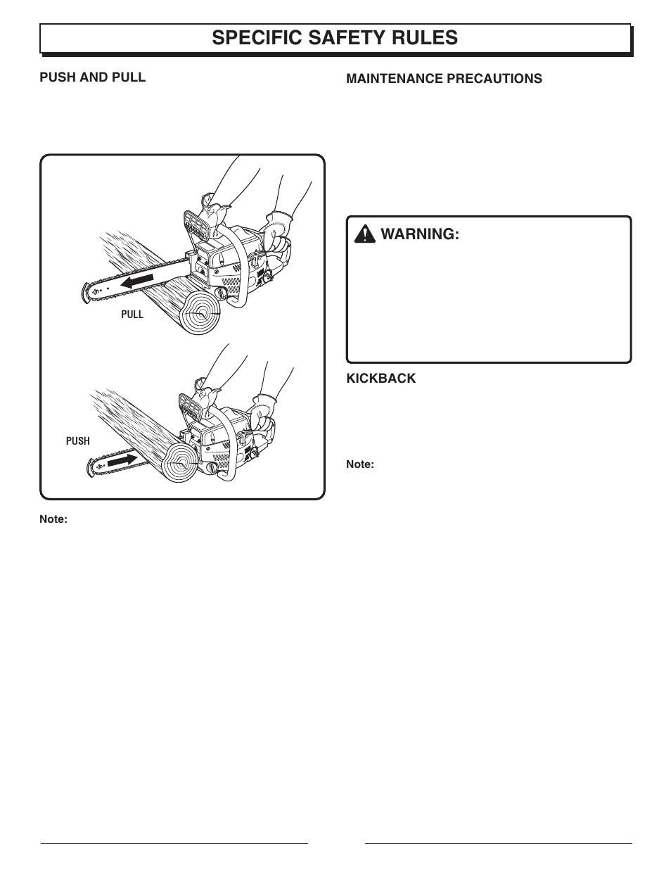 Specific safety rules, Warning | Homelite UT10947E User