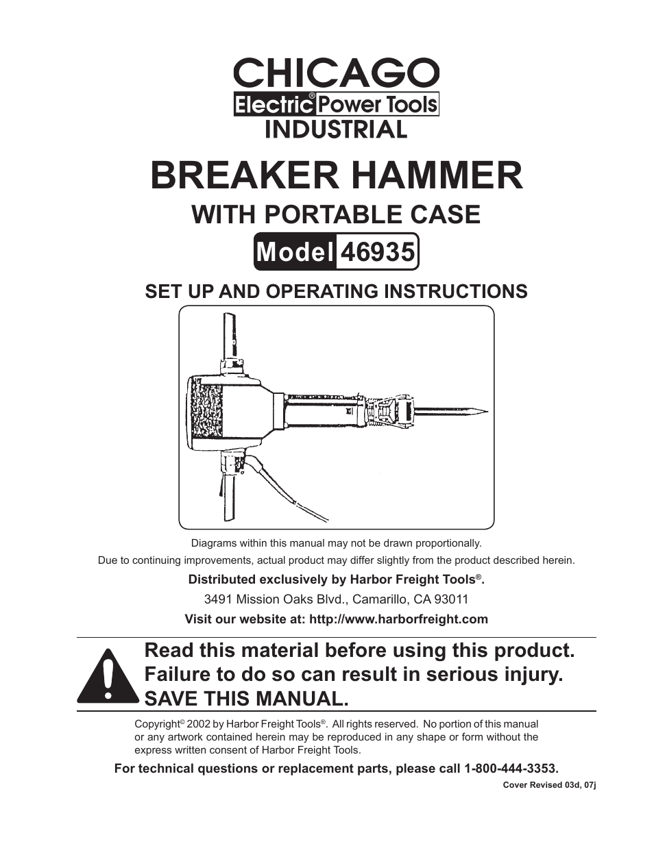 harbor freight tools chicago electric breaker hammer with portable