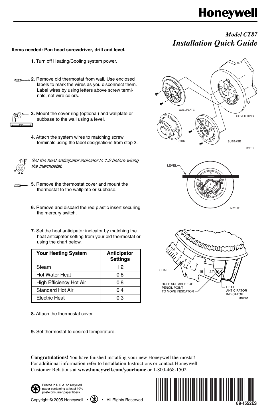 Honeywell Ct87 User Manual 2 Pages Mercury Thermostat Wiring