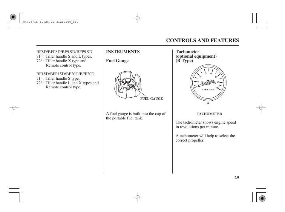 Instruts, Fuel guage, Tachometer (optional equipt) (r type ...