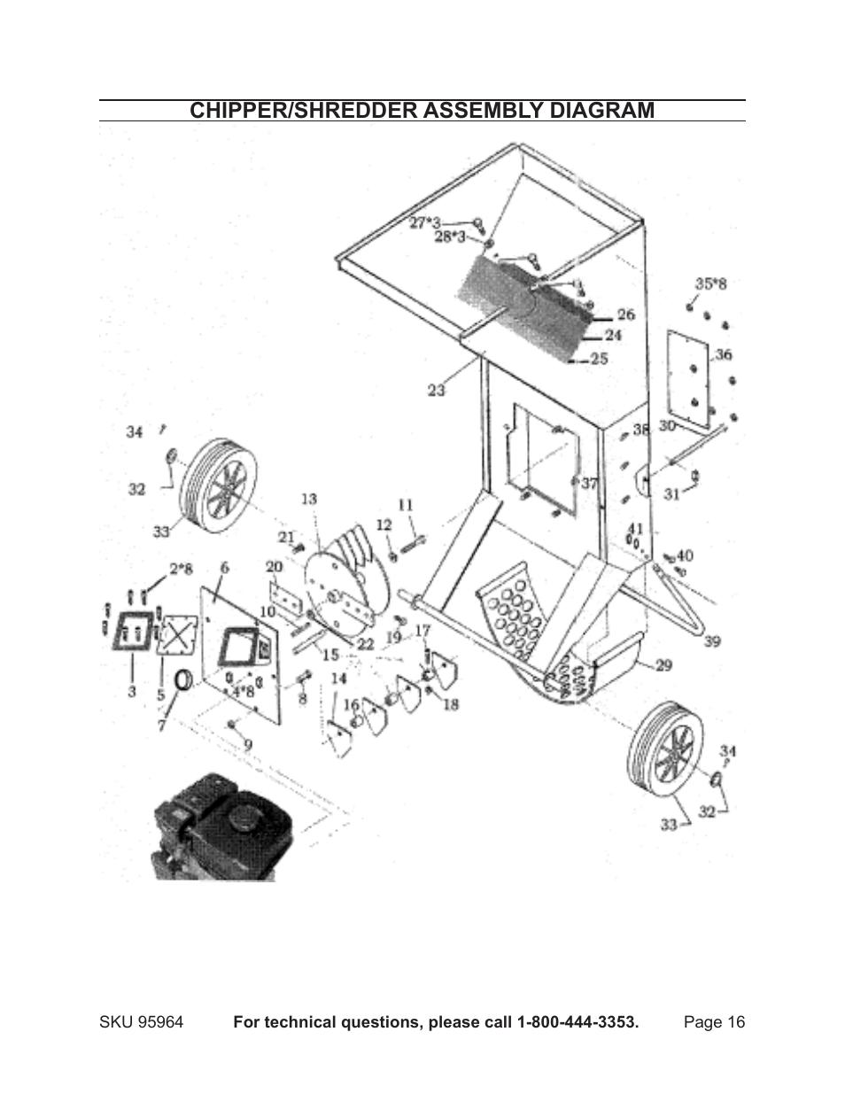 chipper  shredder assembly diagram