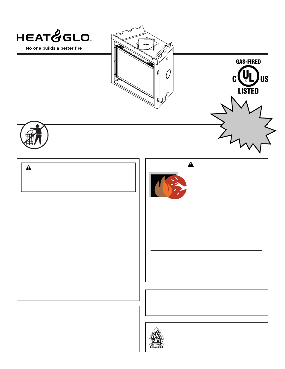 heat u0026 glo fireplace 6000g ipi user manual 71 pages also for