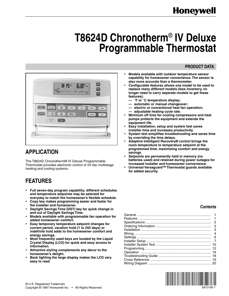 Honeywell Chronotherm Instruction Manual I Open Source User Rth2300 Rth221 Basic Iv Deluxe T8624d 20 Pages Rh Manualsdir Com Thermostat Operating