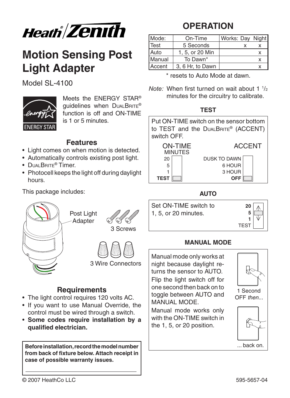 Heath Zenith Motion Sensing Post Light Adapter SL-4100 User Manual | 16  pages