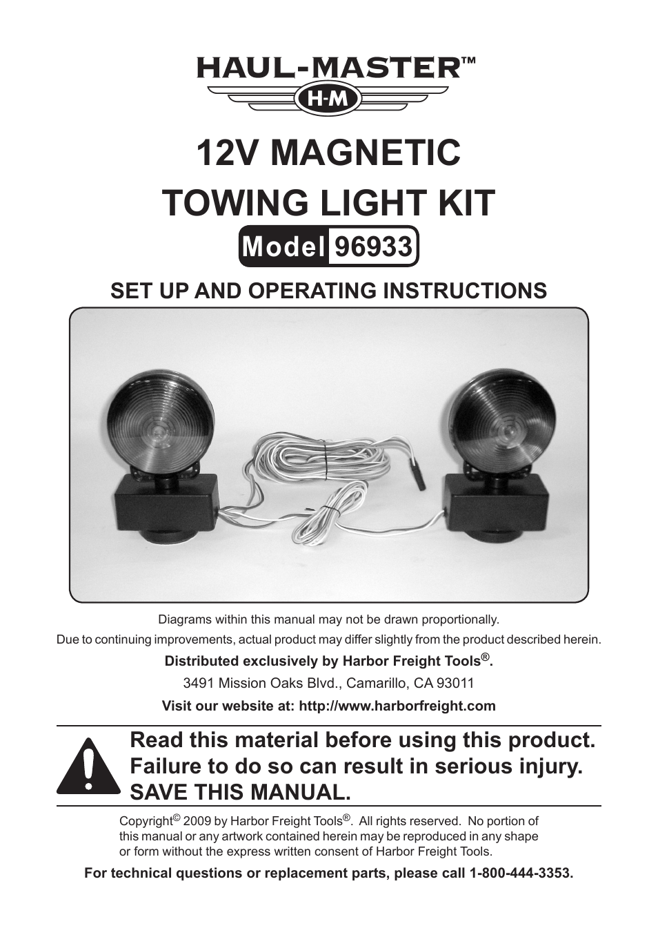 Harbor Freight Tools 96933 User Manual | 8 pages on
