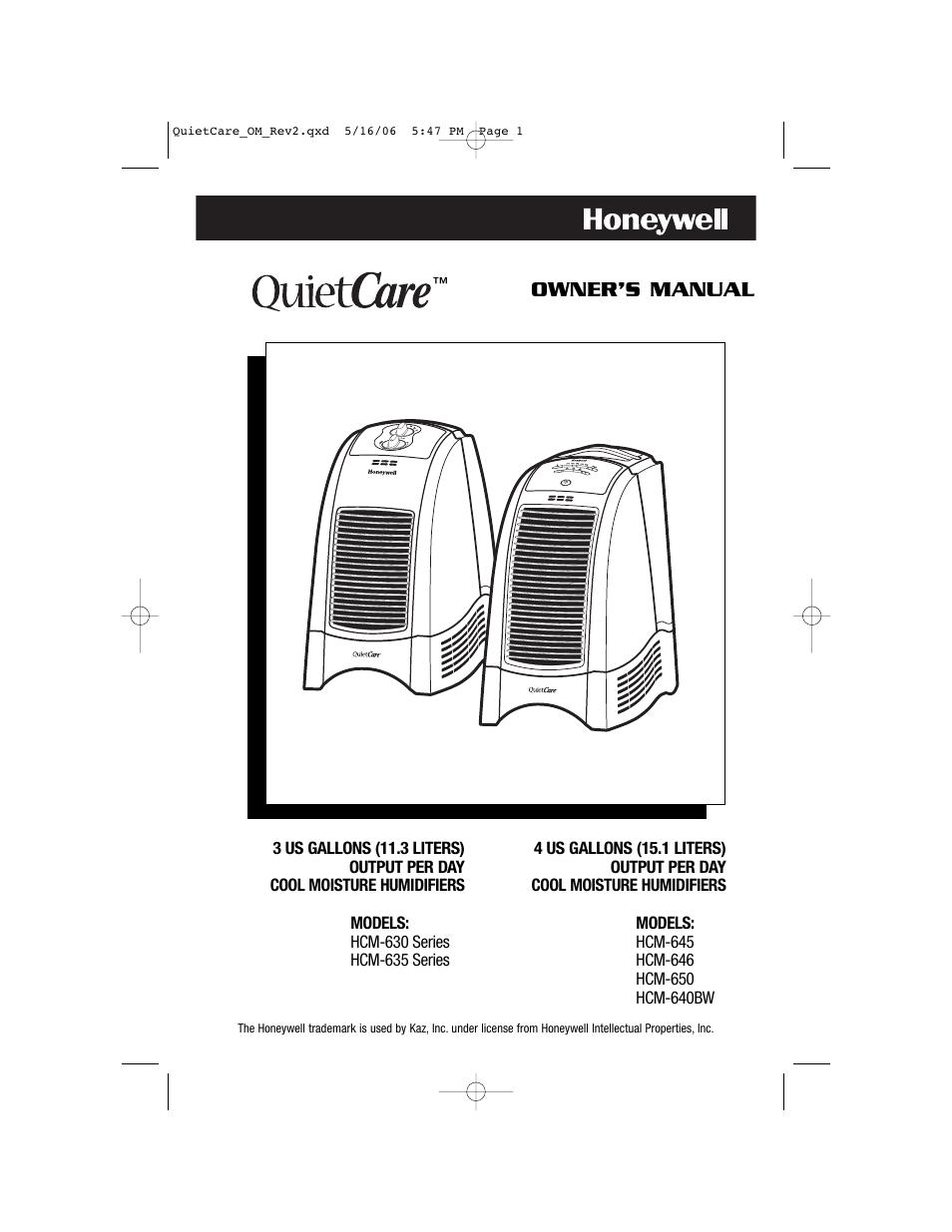 Honeywell HCM-635 User Manual | 36 pages | Also for: HCM-646, HCM-640BW,  HCM-645, HCM-650, HCM-630