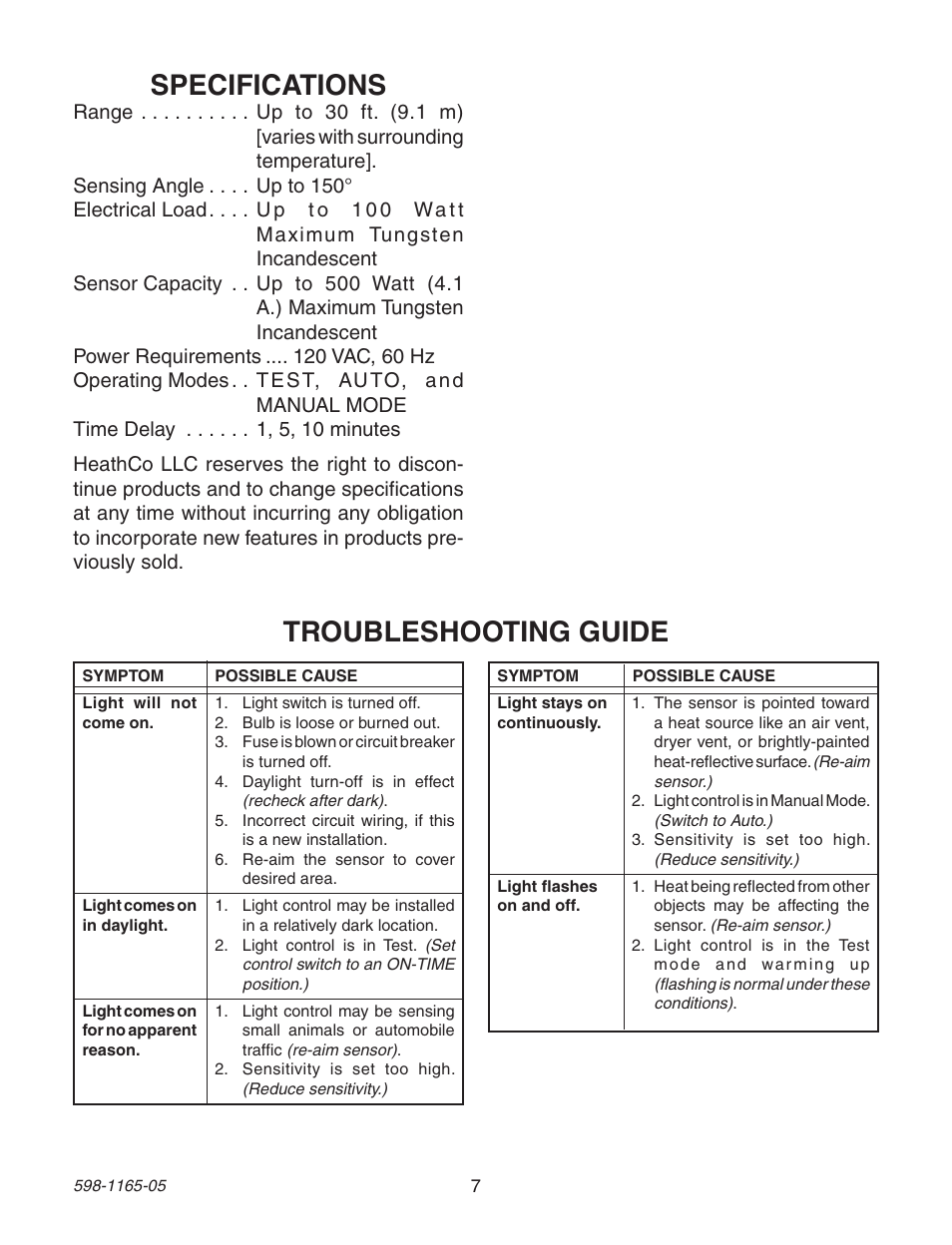 specifications troubleshooting guide heath zenith pf 4160 ab user rh manualsdir com Heath Zenith Support Heath Zenith Wireless Command