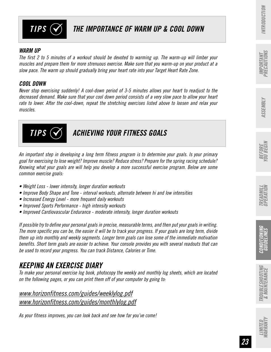 Tips Keeping An Exercise Diary Horizon Fitness T95 User Manual