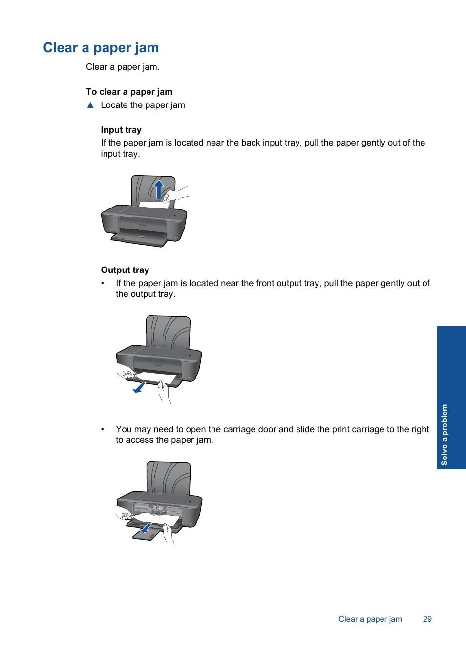 Clear a paper jam | HP DESKJET 1000 J110 User Manual | Page