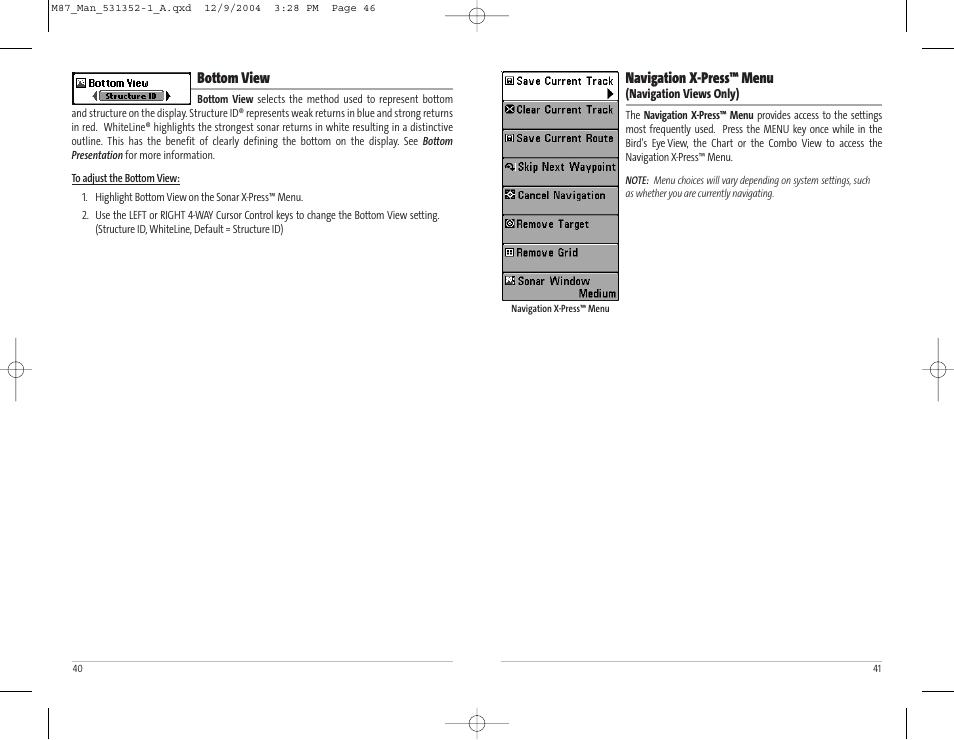 Navigation x-press™ menu, Bottom view | Humminbird Matrix