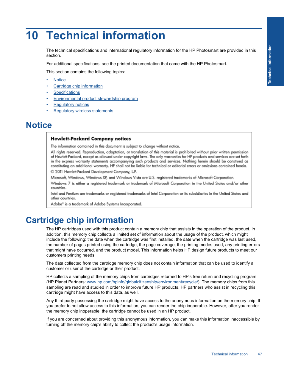 Technical Information  Notice  Cartridge Chip Information