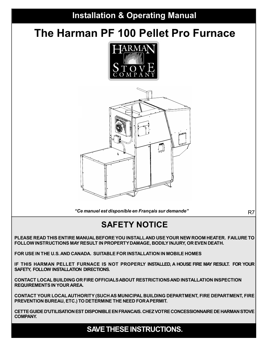Harman Stove Company Pf 100 User Manual