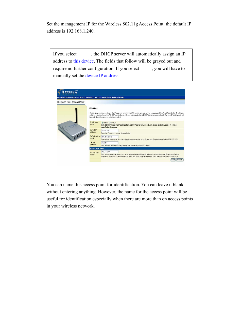 Ip addr (ip address settings) | Hawking Technology HWBA54G User