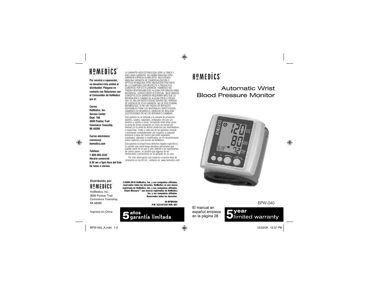 Homedics Blood Pressure Monitor User Manual