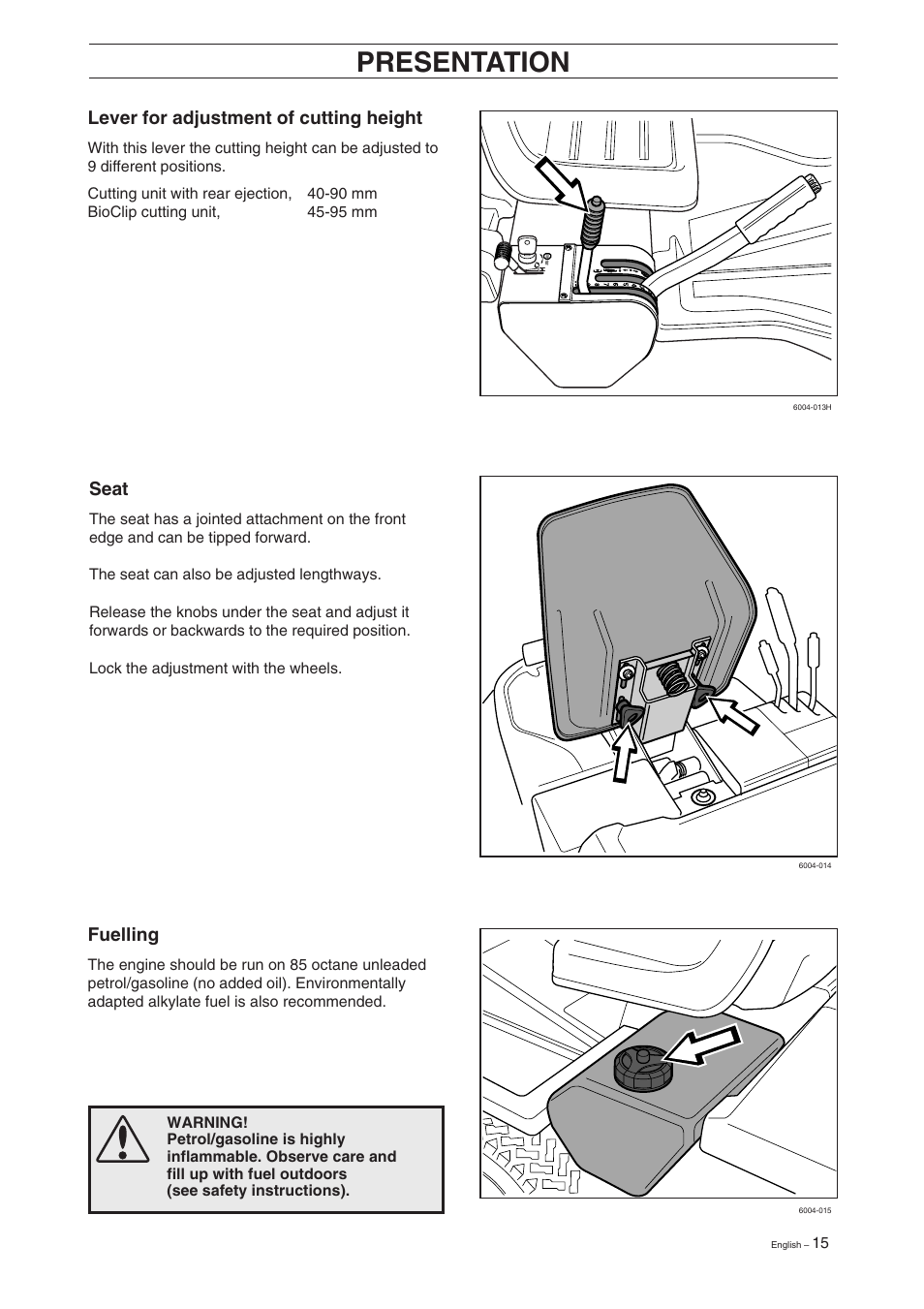 Presentation, Lever for adjustment of cutting height, Seat   Husqvarna Rider  11 User Manual   Page 17 / 52