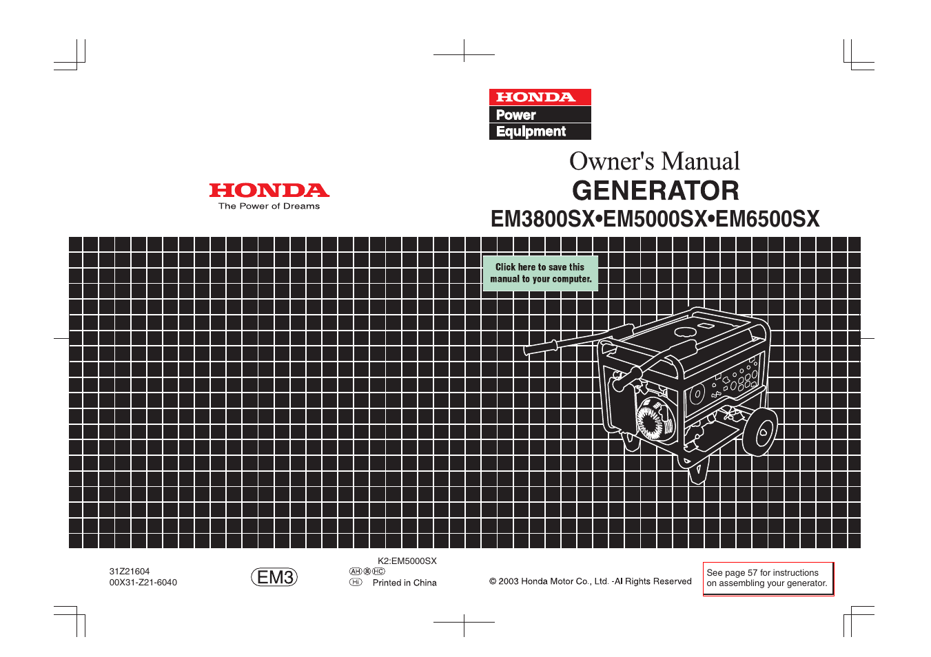 honda em3800sx user manual 75 pages also for em6500sx em5000sx rh manualsdir com