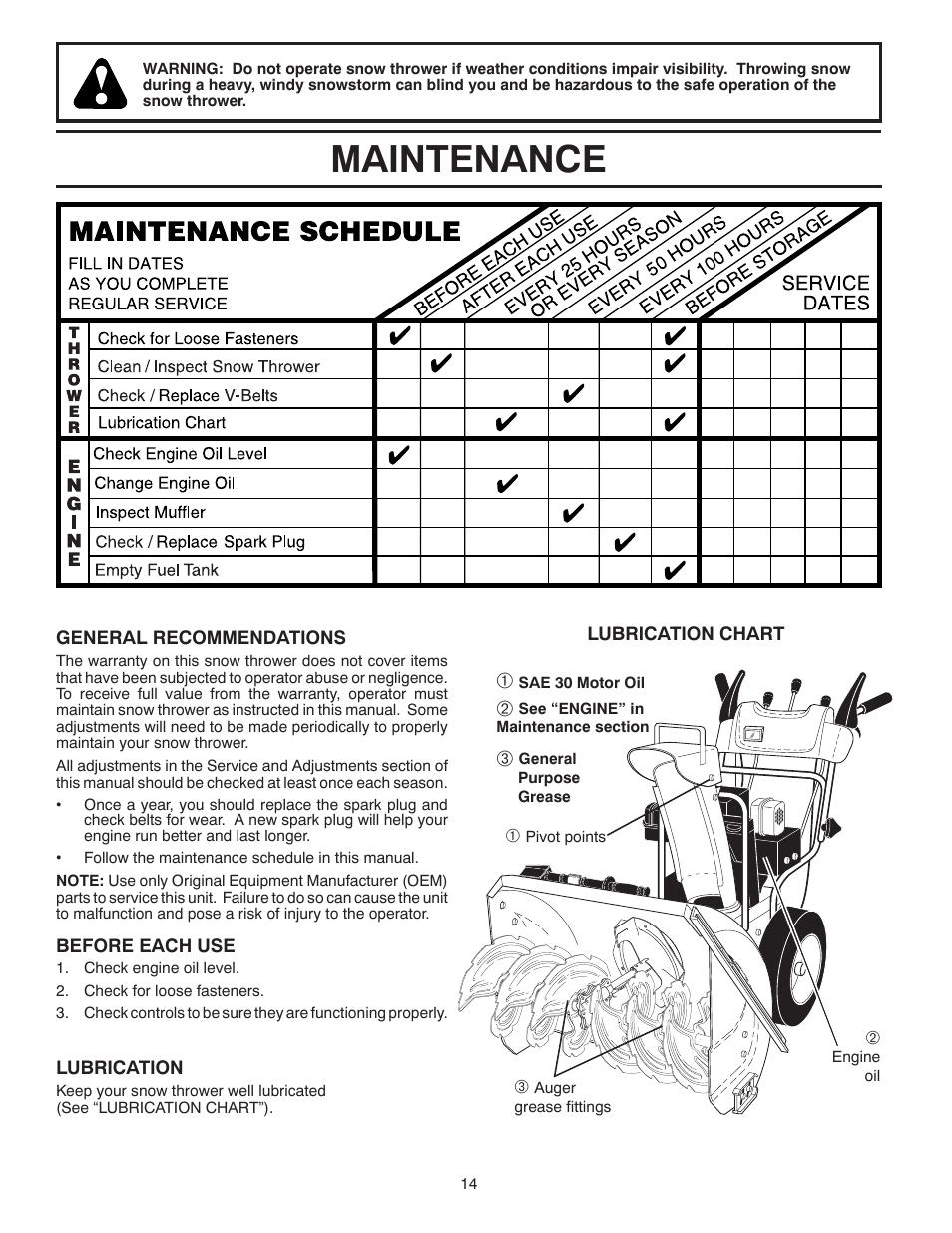 Maintenance | Husqvarna 14527SB-LS User Manual | Page 14 / 24